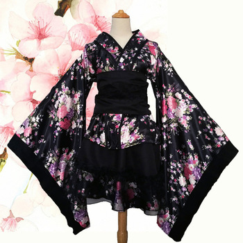 Women's Sexy Kimono Sakura Anime Costume Japanese Kimono Traditional Print Vintage Original Tradition Silk Yukata Dress S-XXXL
