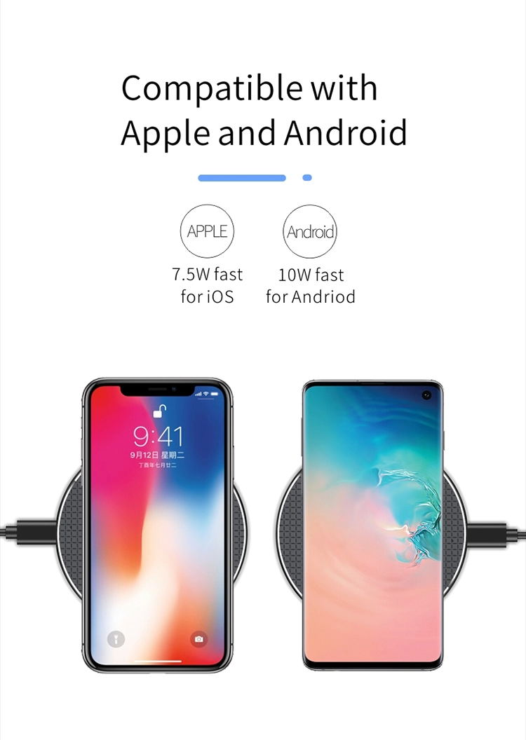 2020 New Fast Charging 10W Portable Qi Wireless Charger Cell Phone Charging Pad Battery Charger for iPhone 11 Pro Max