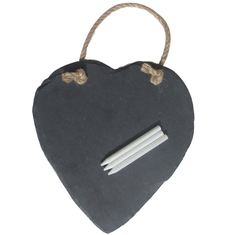 The Promotional Natural Stone Black Heart Shaped Slate Coasters Cup Mat