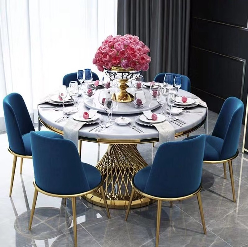 Customized 240cm 180cm Modern Home Furniture Rectangle Luxury Real Natural Marble Top Dining Table Sets