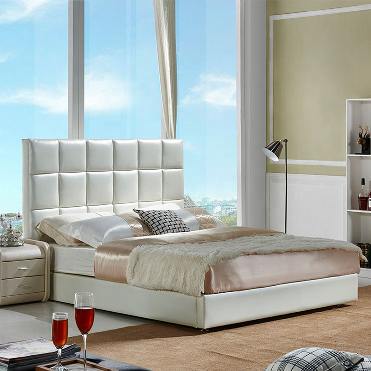 Luxury simple high bed interior bedroom basic white comfortable soft leather bed