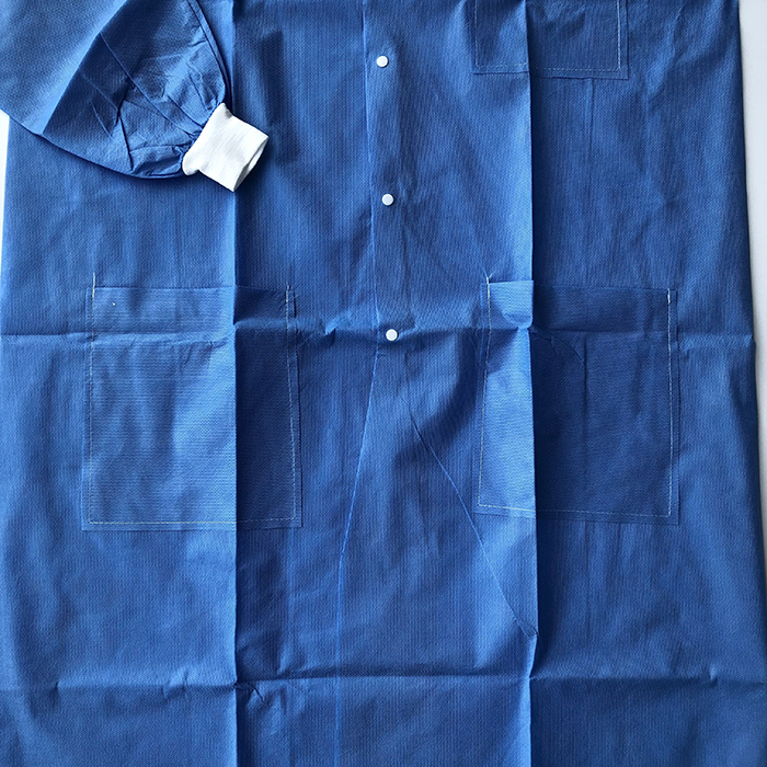 Disposable Nonwoven SMS 25g Working Clothes Lab Coat with Front Snap