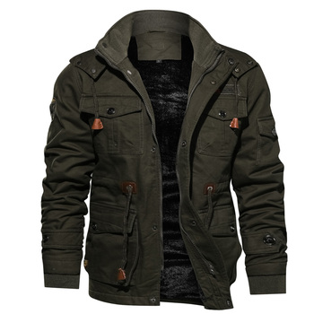 Dropshipping Wholesale Winter Plus Velvet Thickening Warm Windproof Hooded Military Army Jacket