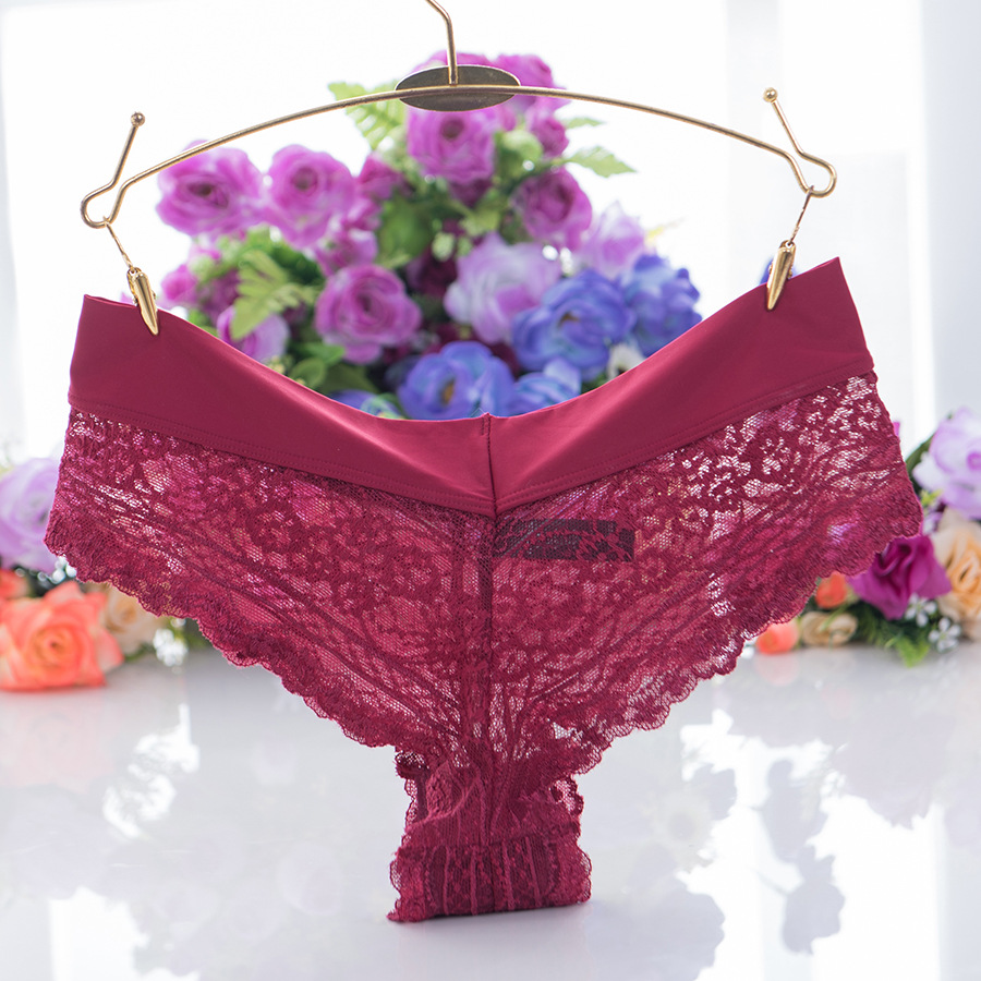 Middle-Waist Plus Size Girls Underwear Plant Flowers Pattern Transparent Panties