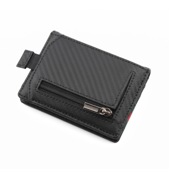 2021 Newly branded Customized best brands men's leather minimalist slim wallet genuine leather carbon fiber rfid wallet