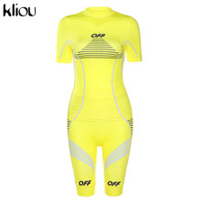 Женский спортивный костюм Kliou, облегающие шорты из двух предметов для фитнеса, лето 2020(Китай)