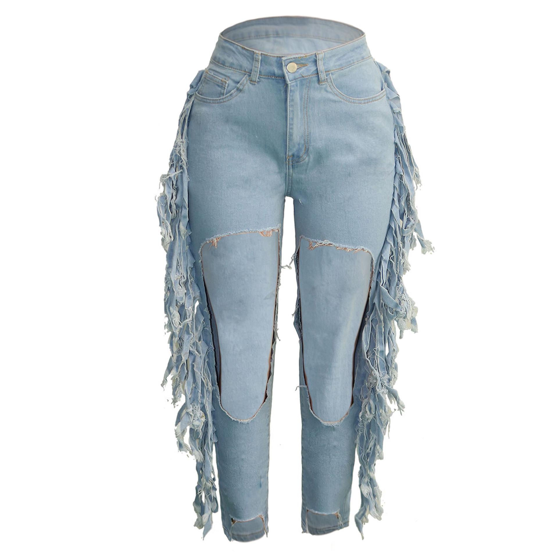 2021 Nueva Moda Nueva Llegada De Las Mujeres Pantalones Vaqueros De Mezclilla Pantalones S 3xl Cintura Alta A Los Pantalones Vaqueros De Las Mujeres Agujeros Borla Vaqueros Mujer Buy Pantalones Vaqueros Rasgados