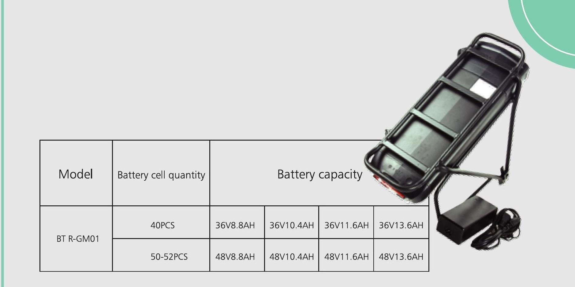 36 В, 13 Ач, китайский задний Аккумулятор для электровелосипеда