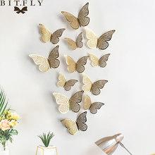 3D наклейки на стены, 12 шт./набор, полые бабочки для детских комнат, домашний декор стен, сделай сам, бабочки, наклейки на холодильник, украшени...(Китай)
