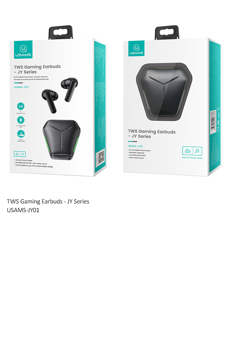 Usams 2021 New TWS Wireless Earphone 5.0 Headphones Sport Gaming Headset Noise JY01 wireless Earbuds