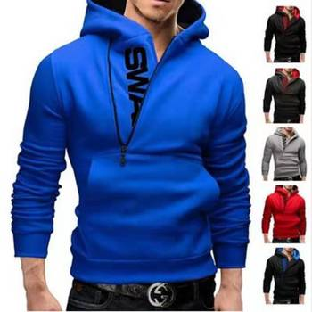 Male Spring Hoodie Oblique Zipper Solid Color Hoodies Men Autumn Fashion Tracksuit Male Sweatshirt Hoody Slim Fit 6XL