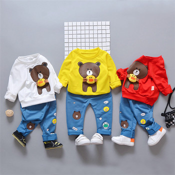 Factory Boy's Clothing Sets Cartoon Bear Prints Top and Jeans Pants Children's Two Piece Outfit Autumn Spring Cheap Kids Clothes