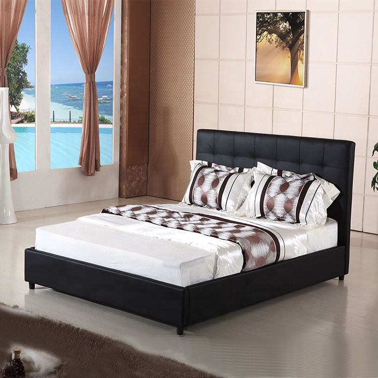 upholstery bed pu leather decoration king bed frame storage double design furniture upholstery bed frame