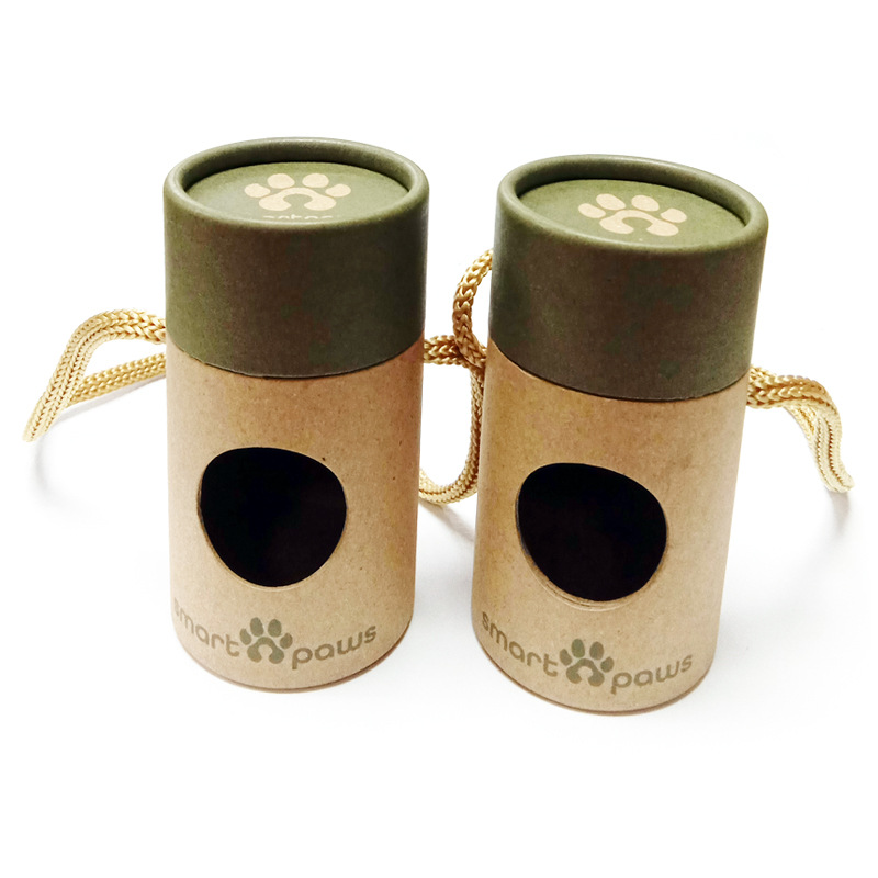 high quality recycled material Custom label 100% biodegradable paper tube packaging for dog poop bags