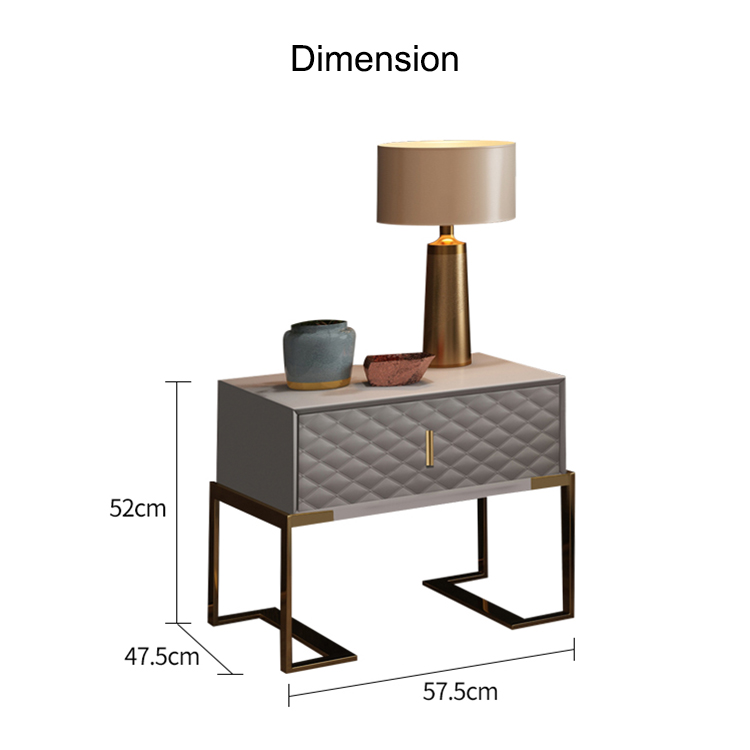 Bedside table modern grey cabinet