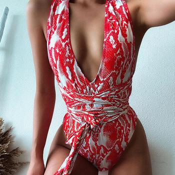 2020 Backless Snake Swimwear Bandage Front Tie Bathing Suits Cross Deep V Red Swimsuit One Piece Bathing Suits