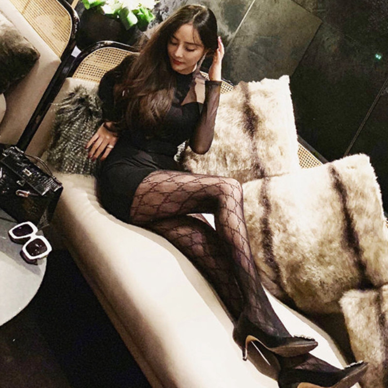 Guccu tights silk stocking thigh high fish net stocking black nylon gg fishnet stockings sexy pantyhose for women