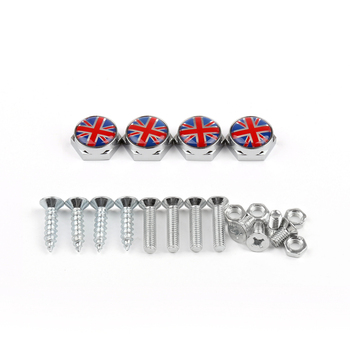 Areyourshop Union Jack Chrome Metal License Plate Frame Screw Bolt for Mini Cooper