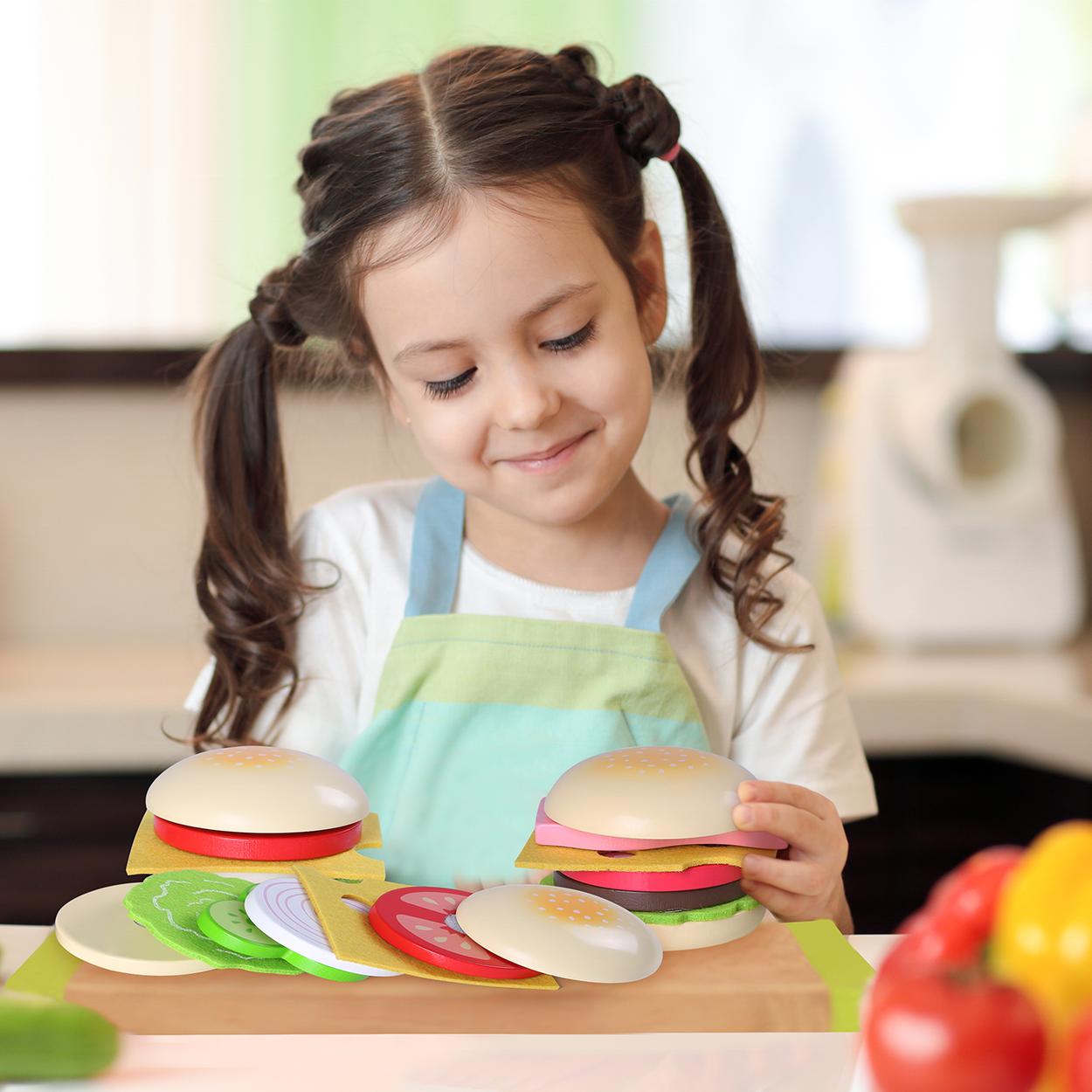 Детские игрушки, развивающие игрушки, экологически чистый деревянный набор для гамбургеров