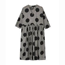 Женское платье с принтом EAM, черное плиссированное платье большого размера с треугольным вырезом и рукавом три четверти, весенне-Осенняя мо...(Китай)
