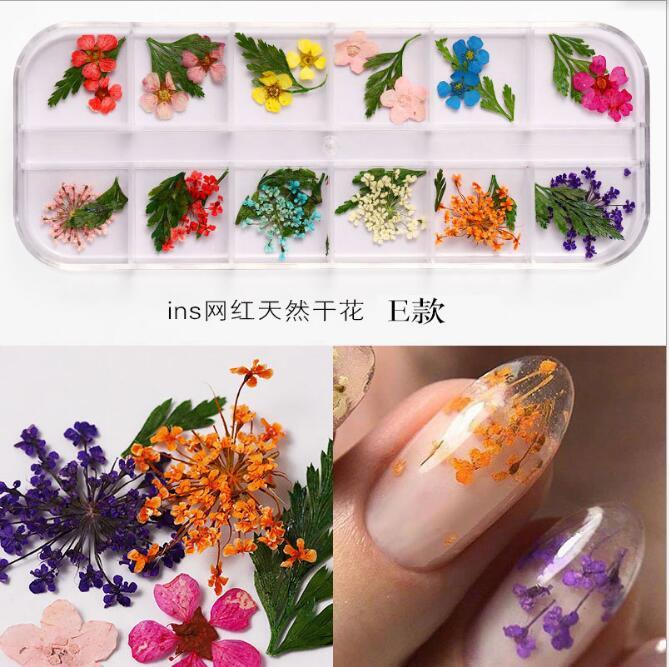 Лидер продаж, смешанные цвета, натуральные прессованные сухие цветы, декоративные сухие цветы для дизайна ногтей