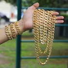Hip Hop Jewelry 12MM Stainless Stell Plated Iced Out Cuban Link Zircon Prong Cuban Link Chain Necklace Rhinestone Cuban Chain