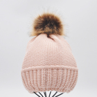 Winter Winter Beanie Hat Type Winter Manufacturer Winter Autumn Spring Warmly Fashionable Customized Acrylic Knit Hat/Beanie With Faux Fur Ponpom For Woman