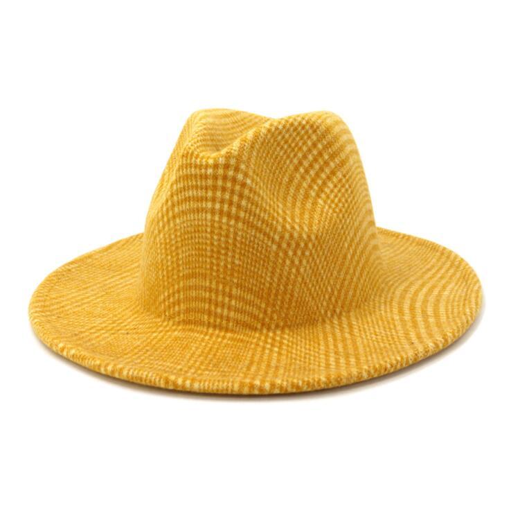 New check print Buckle Wool Felt Fedora Hat Winter Fashion Dress Panama Hat