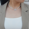 Pearl Necklace Silver 444