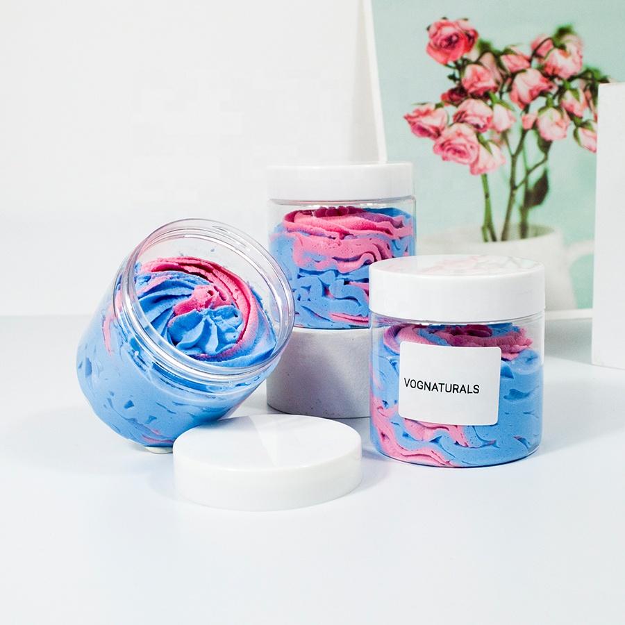 Private Label Best Exfoliating Cleansing Body Scrub, Face Foaming Sugar Scrub Whitening Body Soap Rainbow Body Butters