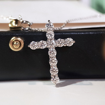 White Gold Plated 925 Sterling Silver Cross Pendant with Hearts and Arrows High Carbon Diamond Inlaid Wholesale