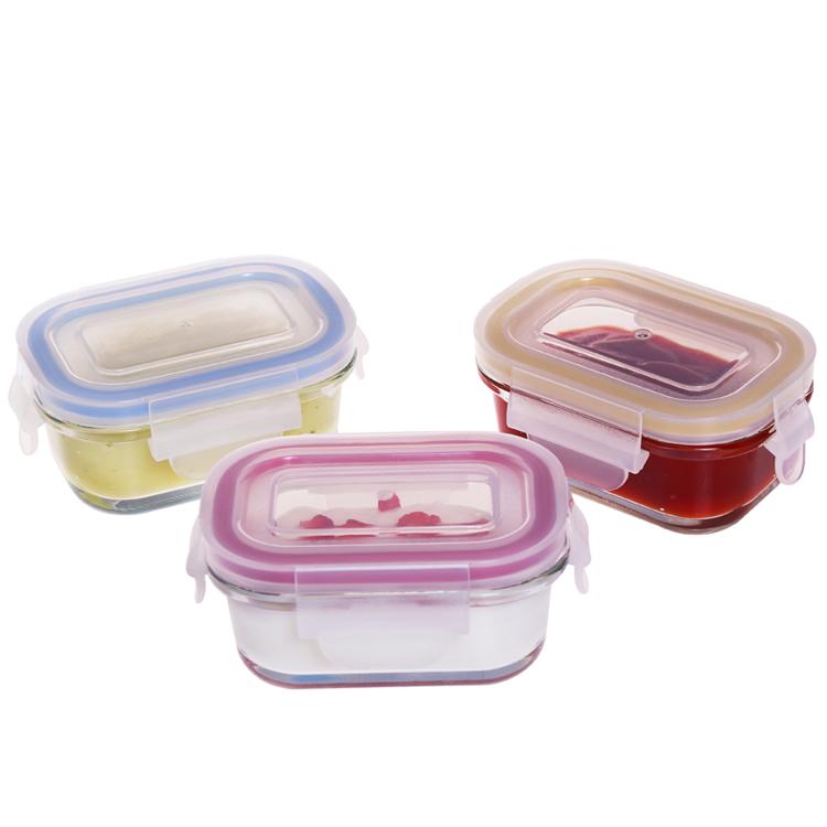 Стеклянный контейнер для детского питания без БФА с Защелкивающейся Крышкой, безопасный для микроволновой печи, 120 мл, набор для хранения детского питания, миниатюрный Ланч-бокс, качественная упаковка
