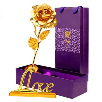 Gold Leaf 24K Gilded Artificial Roses for Thanksgiving Day Mother's Day Valentine's Day Birthday Gift