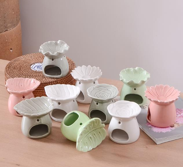 Ceramic Oil Burners with Leaves Embossment