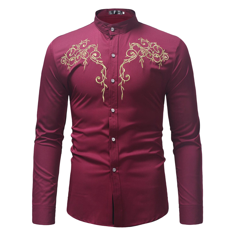 Повседневная рубашка MXCHAN SJH11026 с длинными рукавами и вышивкой, с воротником-стойкой