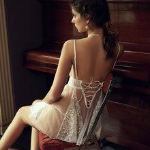 Женская пижама с открытой спиной, кружевной полупрозрачный тюль, платье на бретелях, домашняя одежда, сексуальные топы для отдыха, одежда дл...(Китай)