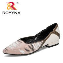 ROYYNA; Новинка 2020 года; дизайнерские модные стильные туфли-лодочки с острым носком; женские модельные водонепроницаемые мокасины на низком ка...(Китай)