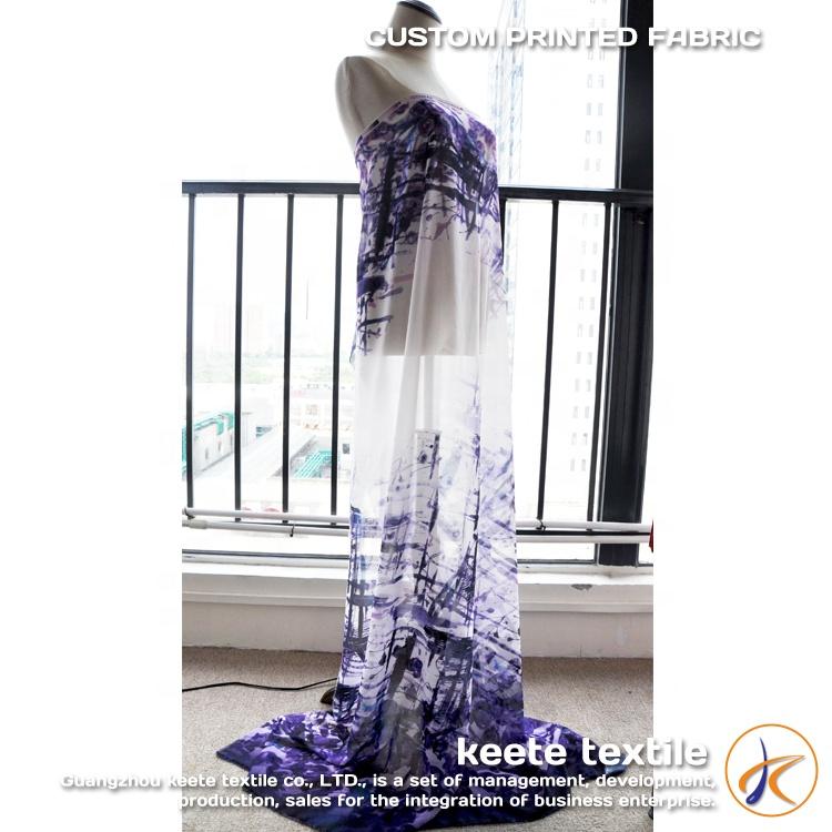 Print 3D korean chiffon fabric custom digital evening dress fabric