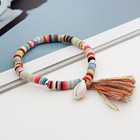 Shell Shellbead 2021 Bohemian Female Jewelry Soft Pottery Color Shell Tassel Pendant Bracelet Pottery Beaded Bracelet