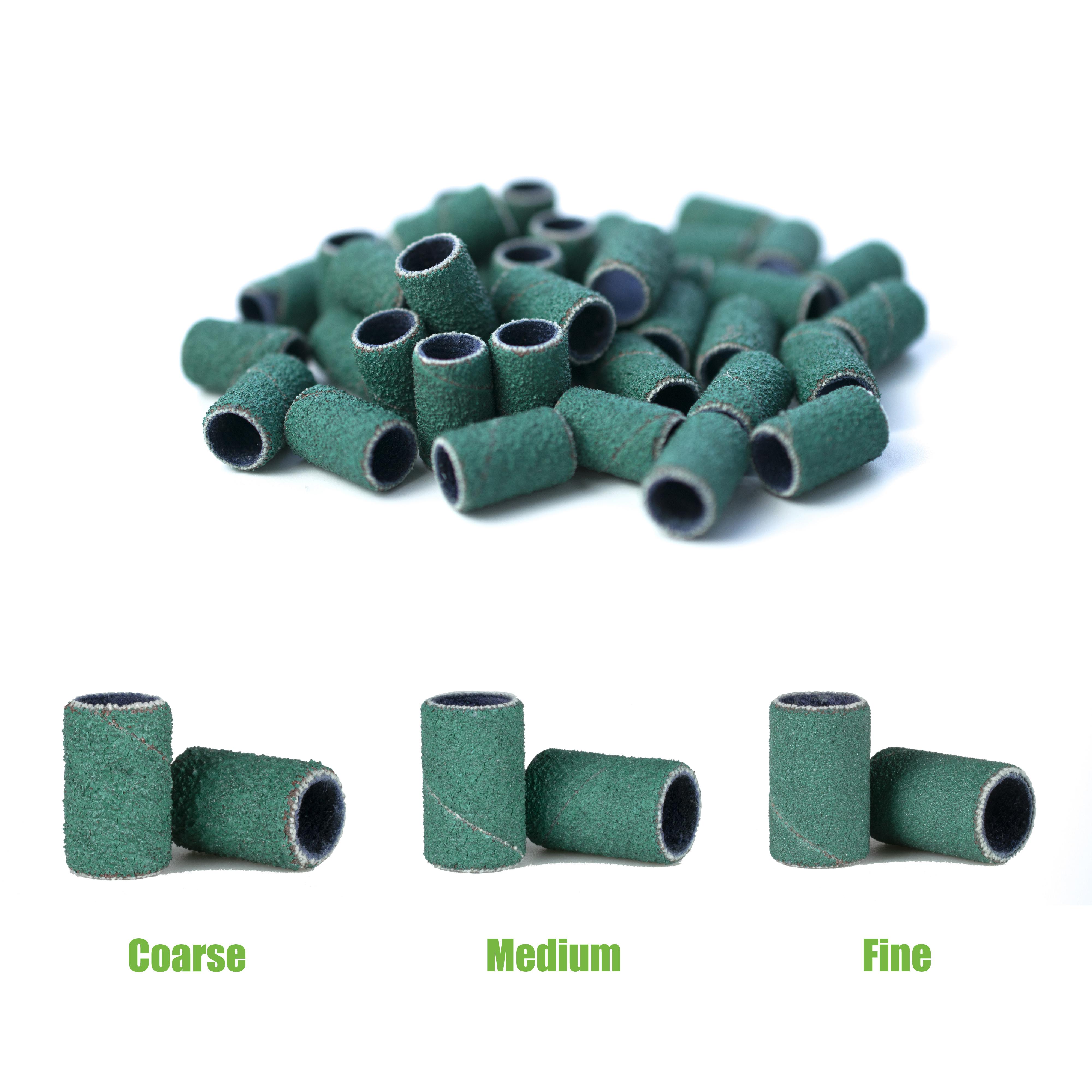 Зеленая абразивная спиральная лента, 1/4*1/2 дюйма, одноразовая шлифовальная лента для ногтей