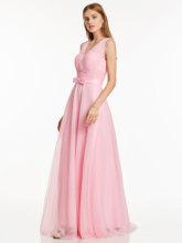 Платье с v-образным вырезом, вечернее платье серебристого цвета, без рукавов, с бантом, длина до пола, платье трапециевидной формы, женские ве...(Китай)