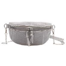 Стразы, поясная сумка, классический креативный тонкий дизайн, шикарная Женская Повседневная сумка на молнии, маленькая нагрудная сумка чер...(Китай)