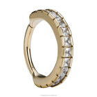14k Solid Rose Yellow Gold Side-Set Gemmed Hinged Segment Ring Septum Clicker Ring