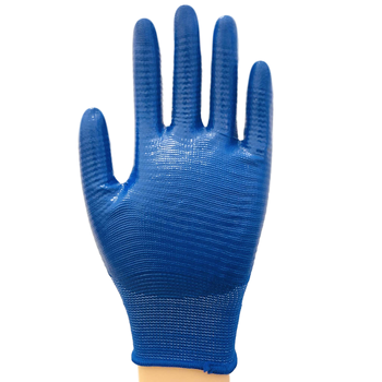 High quality orange nylon liner purple nitrile half coated gloves