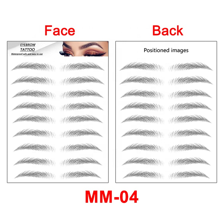 2021 Hottest Tattoo Supplies Waterproof 3D/ 4D/ 5D/ 6D Disposable Fake Temporary Eyebrow Tattoo Stickers For Women
