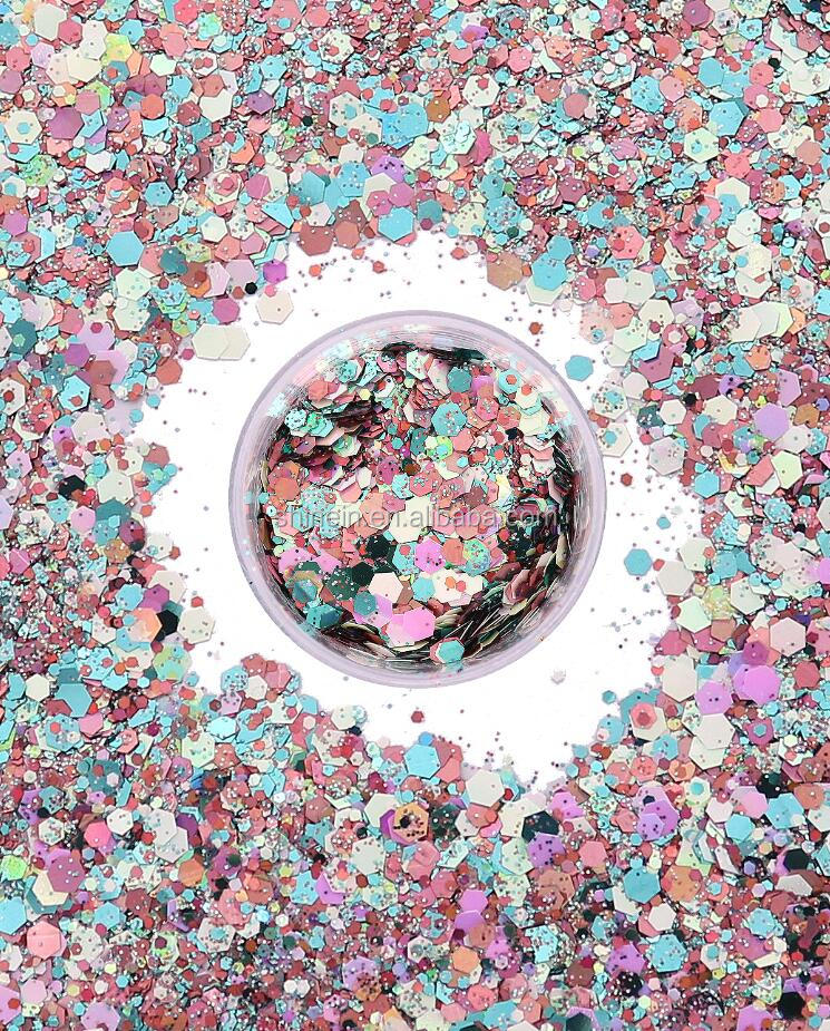 Non-toxic Light Blue and Purple Mixed Color Craft glitter Cosmetic Face Hair Chunky Glitter for Party Makeup