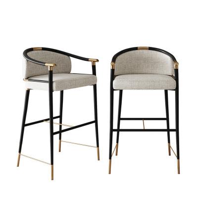 Лидер продаж, винтажный стул в современном стиле, стул из искусственной кожи, высокий стул из металла и нержавеющей стали, современный высокий стул