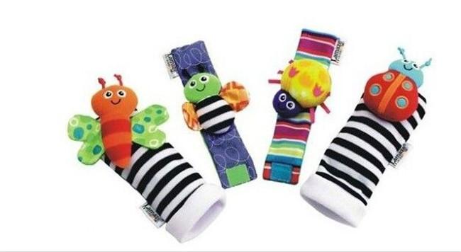 2021 Popular Animal Children Infant Newborn Toy Plush Wrist Rattle Baby Foot Socks