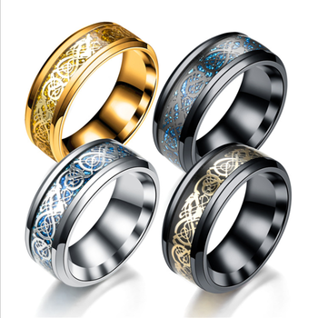 Fashion New electroplated gold piece silver alloy ring dragon piece titanium steel ring fashion men's ring