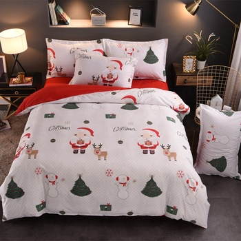 Super Comfortable 3D Printed Christmas quilting Silk Cotton Fabric For Bedding